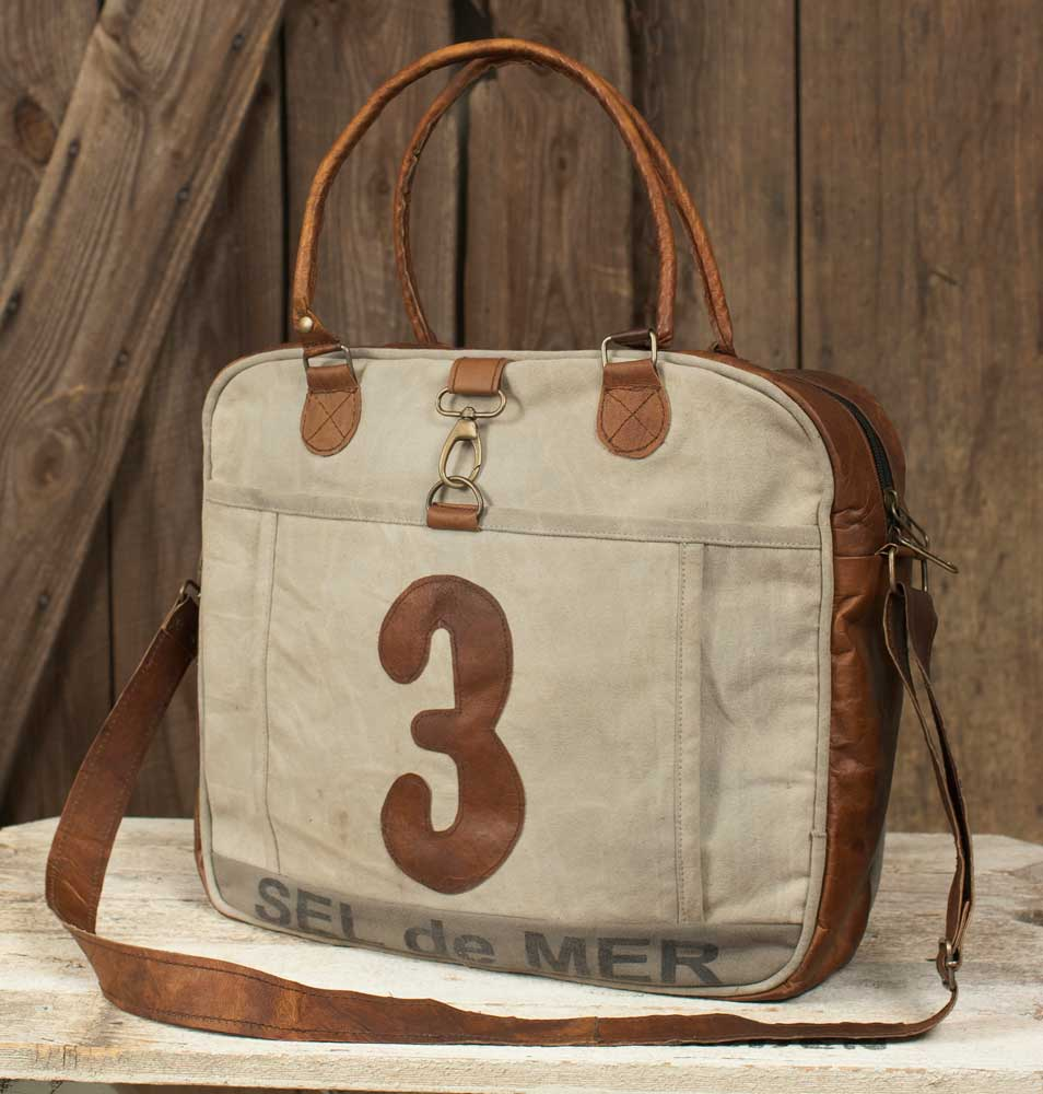 Leather and canvas No.3 Shoulder Bag - Vintage Industrial Farmhouse ... 4fb4390989ed7